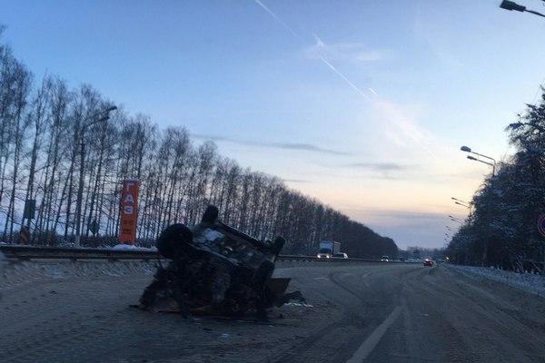авария на трассе,10 февраля 2018 года,М-7,Владимирская область,город Владимир,перевернулся хендай солярис,
