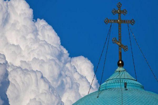 храм,купол,облака,